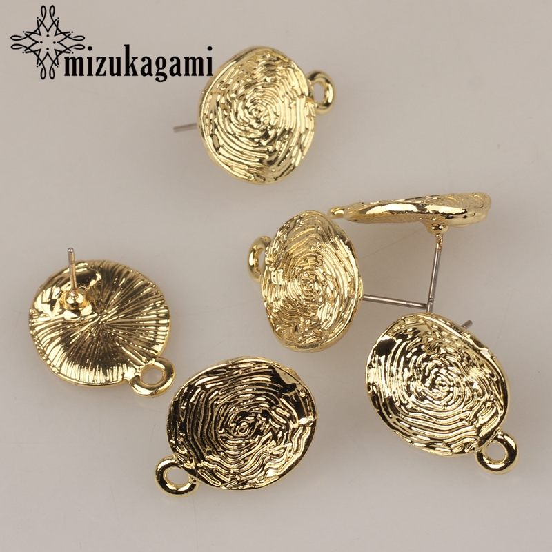 15MM 10pcs/lot Zinc Alloy Golden Ripple Round Base Earrings Pendant Connector For DIY Fashion Earrings Jewelry Accessories