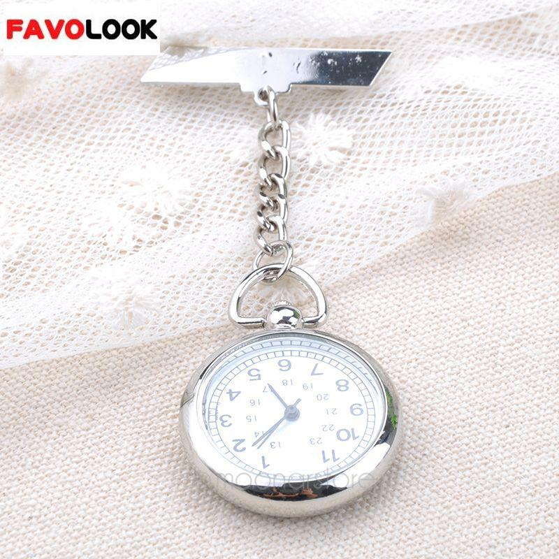 Fashion Large Face Clip Watch Medical Use Pocket Fob Brooch Quartz Watch Chain Pin Clasp Bar Watch