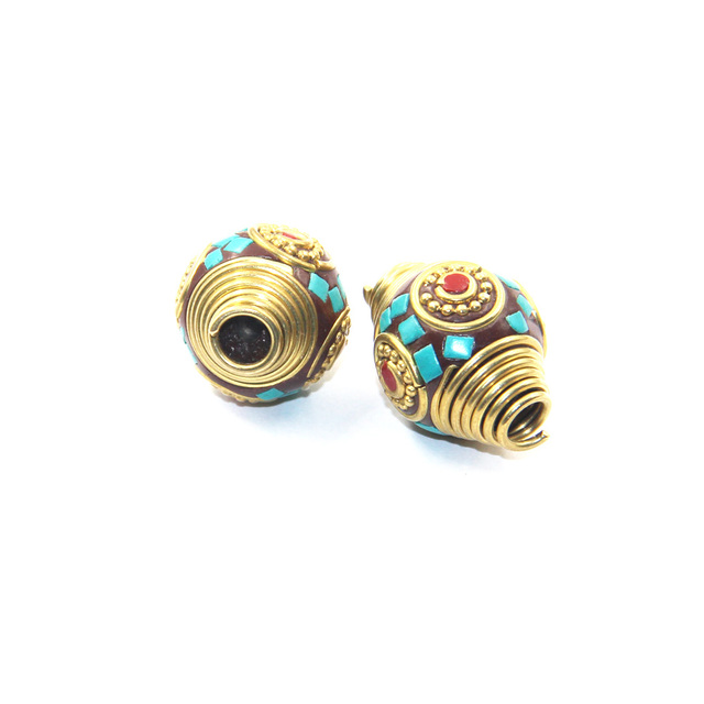 a7ca1d89f 6pcs Brass Handmade Nepalese Prayer Beads,Conical Tibetan Style Nepal  Filigree Beads Coral Turquoise Diy Beads Jewelry Findings