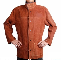 Premium Cowhide Leather Welding Jacket Apron Welder Clothes Oil Industry Clothing CE UL Coffee Color