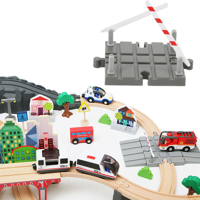 Wooden Train Track Accessories Universal Wood Track Barrier Educational DIY Toys For Children