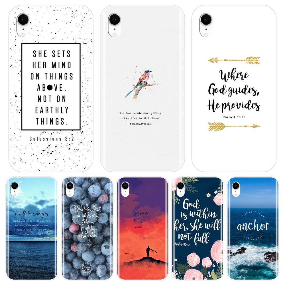 Bible Verse Quotes Text Back Cover For iPhone 6 S 6S 7 8 X XR XS Max Soft Phone Case Silicone For Apple iPhone 6 S 6S 7 8 Plus image