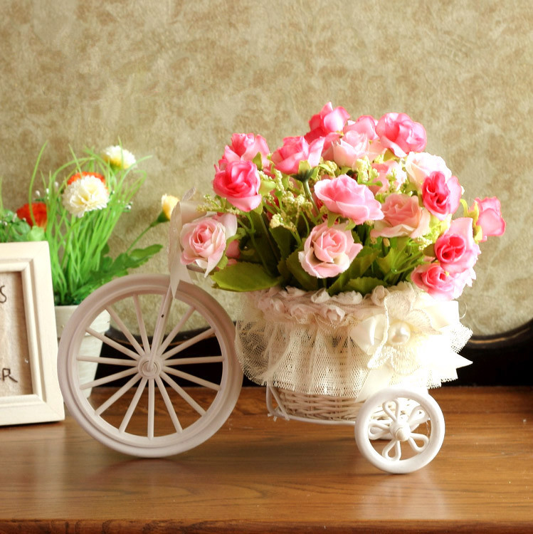 Buy pe storage rattan tricycle flowers for Artificial flowers for wedding decoration
