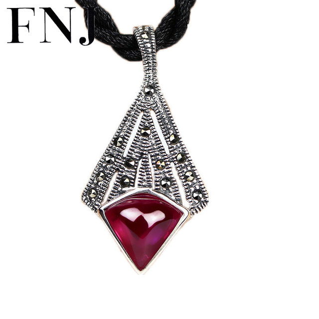 Aliexpress buy 925 silver marcasite pendant red corundum cubic 925 silver marcasite pendant red corundum cubic zircon stone 100 pure s925 solid thai silver aloadofball Images