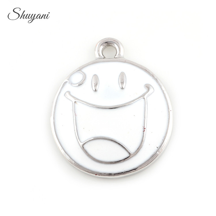 20PCS Alloy Silver Gold Expression Charms White Yellow Smile Face Charms Pendants Jewelry Findings DIY Handmade 25*21mm