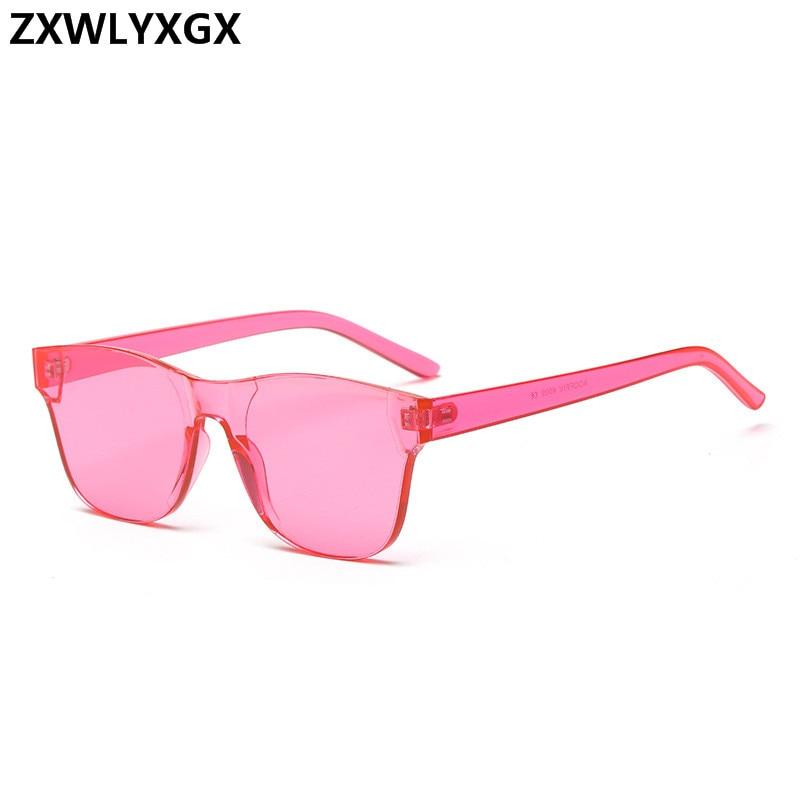 2af3839079 Nueva moda gafas de sol con espejo Vintage sin montura para mujer de marca  de lujo diseño Original gafas de sol cuadrado mar candy color tendencia