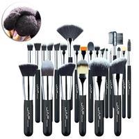 JAF 24 Pcs Set Fiber MakeUp Brush Set Soft Taklon Nylon Hair Wooden Handle High Quality