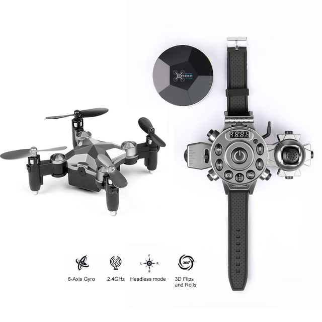 New Foldable Mini RC Drone with 2.4G Watch Controller Altitude Hold Remote Control Quadcopter  G-sensor Helicopter VS JJRC H37