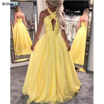 New Simple Yellow Formal Evening Dresses A-Line Chiffon Backless Fashion Gown Special Occasion  Prom Party Evening Gown