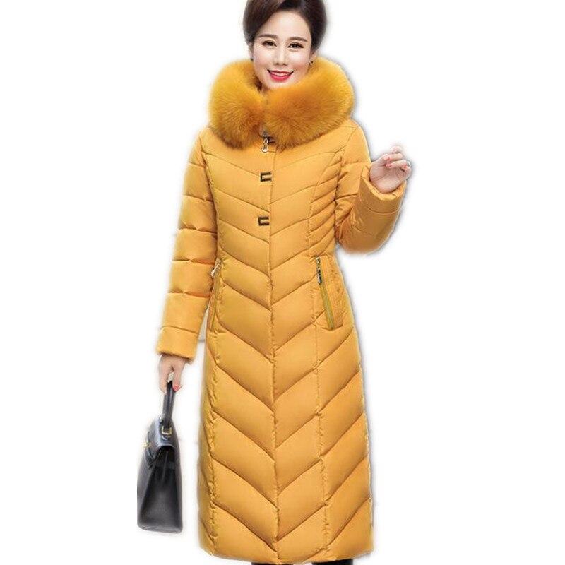 2018Fashion Long Women Winter Jackets Female Mid-Age Thicken Hooded Fur Collar Elegant Winter Coats Female   Parkas   Plus SizeQ1114