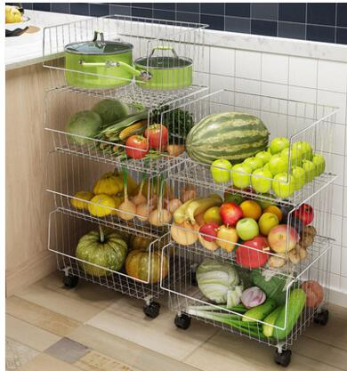 A stainless steel kitchen vegetable rack. A basket for household items. A multi layer fruit and vegetable basket013