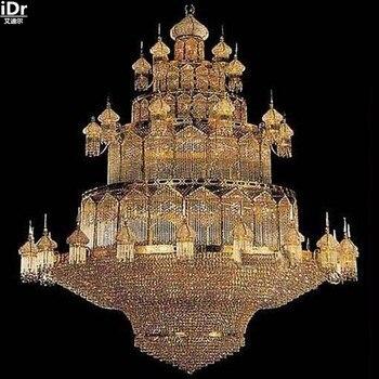 Candelabros dorados lámpara de cristal lámpara dorada gran lámpara de cristal de lujo lámpara de cristal vestíbulo de hotel de lujo 300cm W x 400cm H