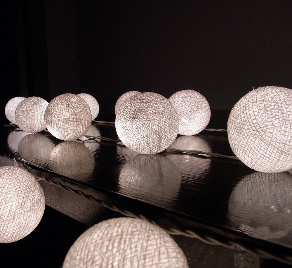 10 pces leds1.6m bateria operado bolas de algodão led luzes corda para decoração de festa de férias