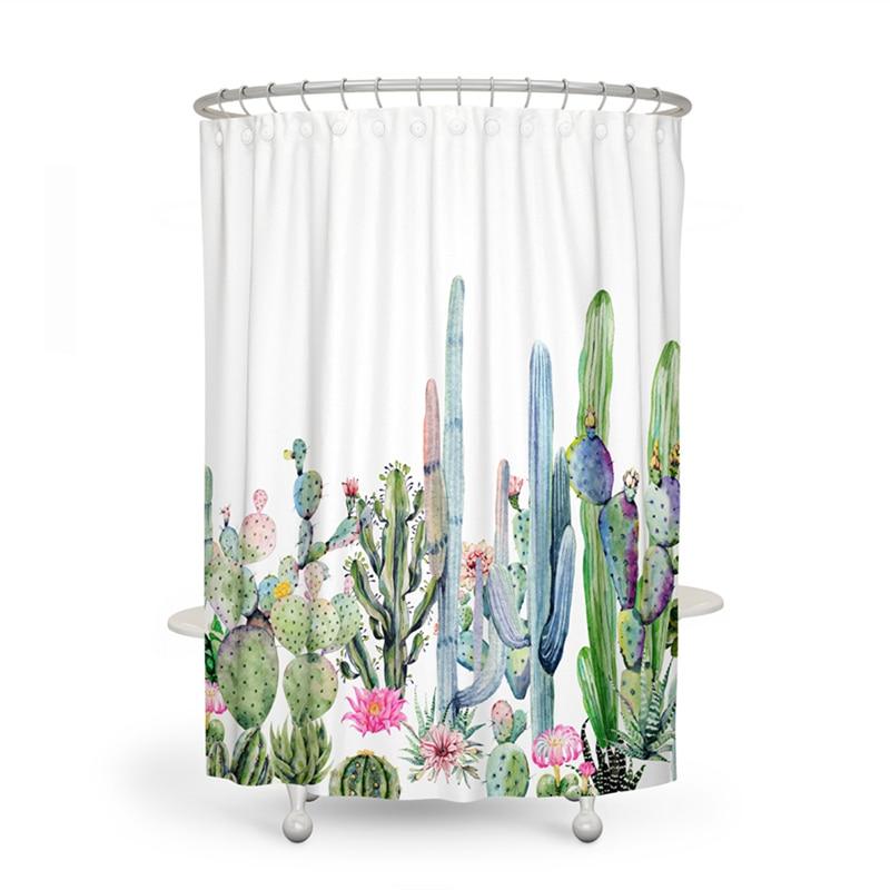 Cortina de baño de tela de poliéster de Cactus, 180x180 impermeable de cortina de ducha, planta Ttropical de África, cortinas de baño, decoración del hogar