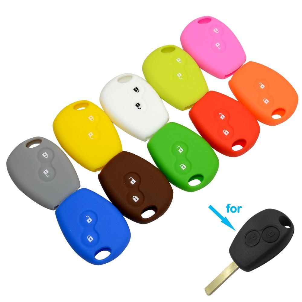 OkeyTech 2 Buttons Silicone Rubber Car Remote Key Case Cover For Renault Kangoo DACIA Scenic Megane Sandero Captur Twingo Modus