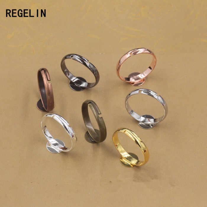 REGELIN 2017 Adjustable Ring Settings 6/8/10mm Round Blank Base Trays Bezel for Cabochon Cameo DIY Fashion Ring Making 20pcs/lot