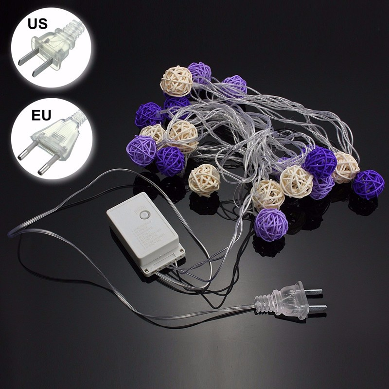 5m 20 LED String Light Fairy Light Purple White Rattan Balls Waterproof IP44 For Holiday Christmas Wedding Decoration Party