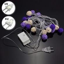 5 m 20 LED Luz de la Secuencia de Hadas de Luz Púrpura Bolas De Ratán Blanco Impermeable IP44 Para Vacaciones de Navidad Decoración de La Boda Del Partido
