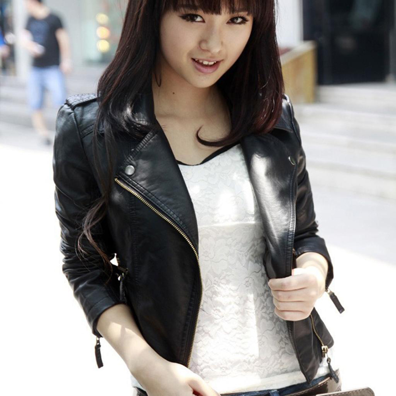 Classic Black PU   Leather   Jacket Women Cool Slim Short Motorcycle Jackets Ladies Autumn Zipper Coat Basic Outerwear Top casaco