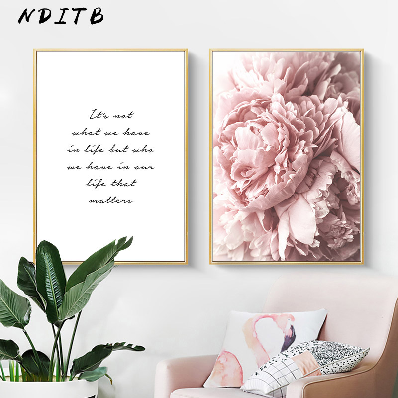 HTB1 r1IXUzrK1RjSspmq6AOdFXaW Scandinavian Art Flower Canvas Poster Pink Peony Floral Print Painting Nordic Style Wall Picture Modern Living Room Decoration