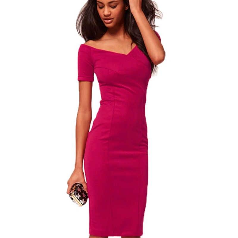892306d2e8f Для женщин Сексуальная V шеи короткий рукав Тонкий Встроенная Молния сзади  Bodycon платья носить на работу