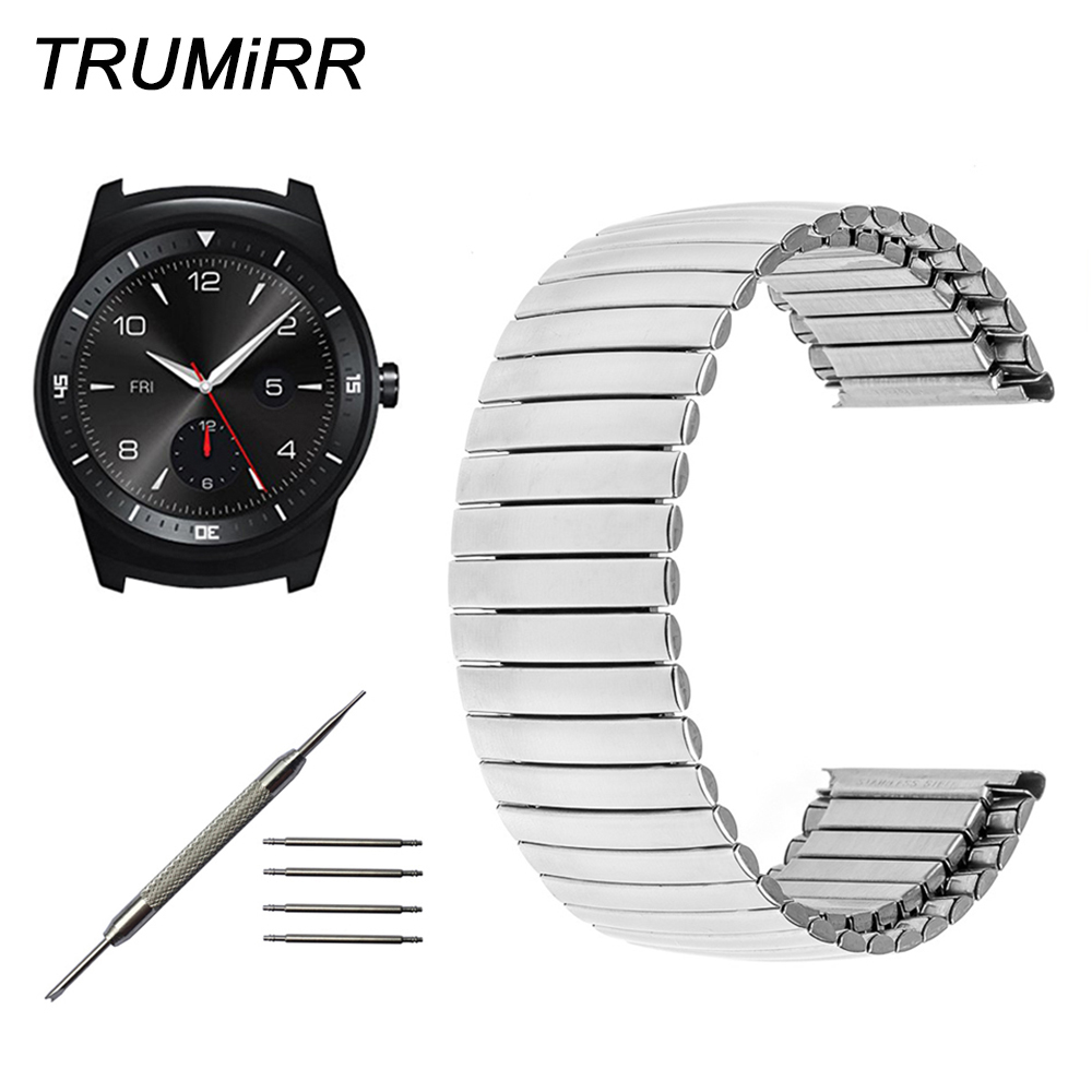22mm Stainless Steel Watchband Elastic Strap for LG G Watch W100 W110 Urbane W150 Pebble Time Asus ZenWatch 1 2 Men Band Silver lg watch lg watch w150 urbane silver