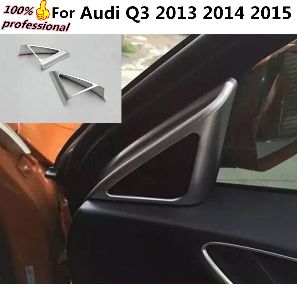 car cover stick ABS front A column lamp frame triangle Audio Speak Sound Ring circle trim 2pcs For Audi Q3 2013 2014 2015