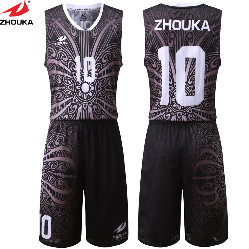 Sublimation Black Pattern Basketball Jersey Uniform Customizing Mesh Breathable Material kawasaki quick dry custom basketball uniform sets shorts basketball jersey mens reversible basketball uniform for basketball