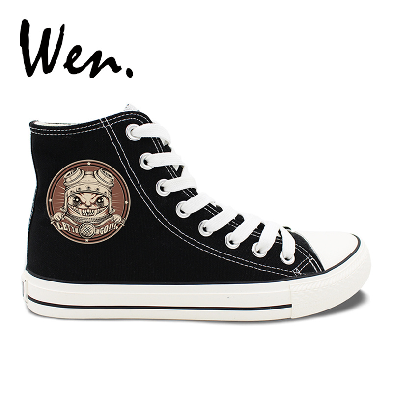 Wen Original Design Retro Cat Motorcyclist High Top Tie Up Black Canvas Shoes Sneakers Unisex White Girl Boys Athletic Shoes