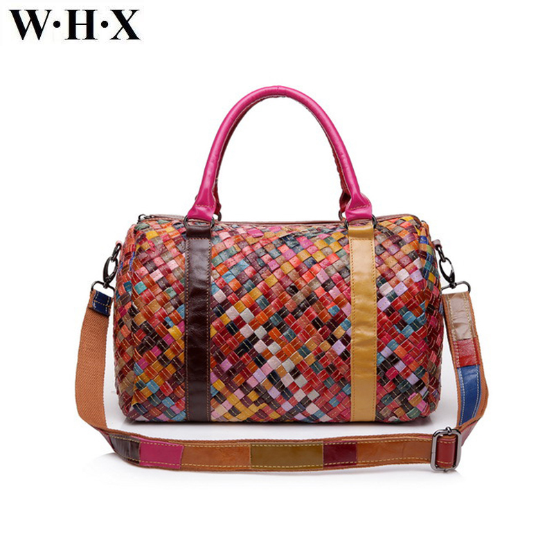WHX Brand Women Genuine Leather Weave Handbags female leather Shoulder Bag Messenger Bag Top-handle tote handbag ladies bags jianxiu brand genuine leather handbag female casual leather tote top handle bag large shoulder bag for women messenger bags 2017