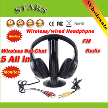 Auricular de moda HiFi 5 en 1, auriculares inalámbricos, auriculares con Radio FM para MP4, PC, TV y CD