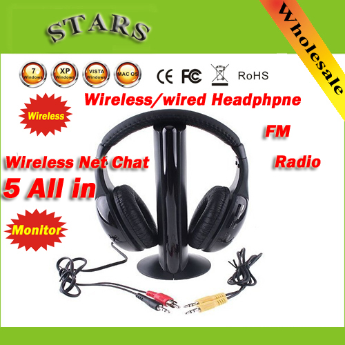 Fashion HI-FI Headphone 5 in 1 Wireless Earphone Headphone headset FM Radio for MP4 PC TV CD 2016 superior quality mosunx 5in1 wireless headphone casque audio sans fil ecouteur hi fi radio fm tv mp3 mp4 au19