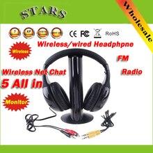 Moda hi fi fone de ouvido 5 em 1 sem fio fone de ouvido rádio fm para mp4 pc tv cd