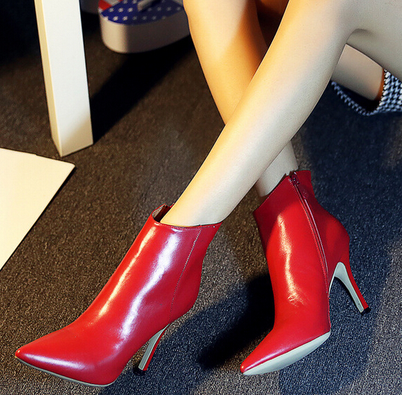 Women Autumn Winter Genuine Leather Thin High Heel Pointed Toe Side Zipper Fashion Ankle Martin Boots Size 33-40 SXQ0920 autumn winter women thin high heel genuine leather side zipper pointed toe fashion over the knee boots size 33 40 sxq0818