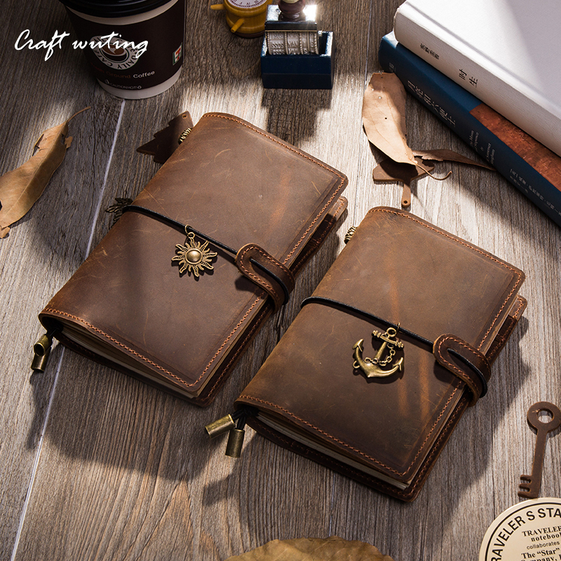 Craft Vintage Genuine Leather Notebook Diary Travel Journal Planner Sketchbook Agenda DIY Refill Paper School Birthday Gift 0715 soft copybook vintage rope spiral notebook pocket diary planner books travel journal notebook sketch craft blank refill paper