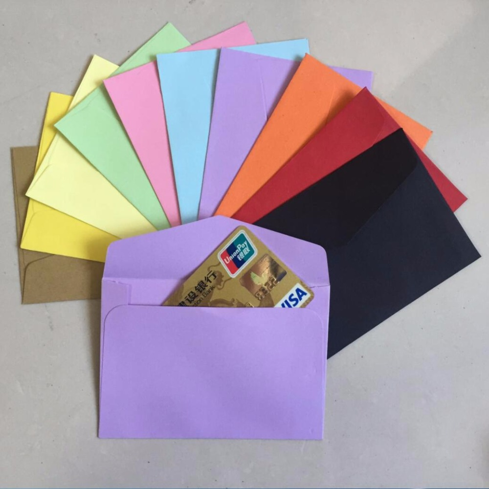 Colored card stock and envelopes - 50pcs Lot Candy Kraft Paper 10 Color Blank Envelopes 108x82mm Bank Card Envelopes Greeting Cards Mini Envelopes Membership Card In Paper Envelopes From
