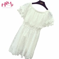 Summer New Korean Style Dress Sexy Slash Neck Off Shoulder Chiffon Shirt Pure Color Embroidery