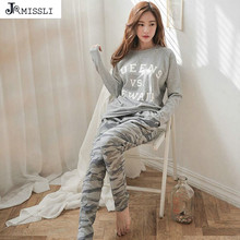 JRMISSLI Spring Autumn Winter Womens Pajama Sets O Neck Long Sleeve Women Sleepwear Pajamas Girls Woman