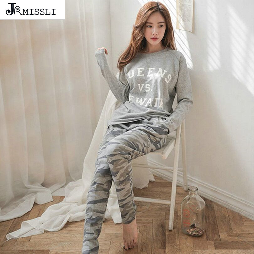 JRMISSLI Spring Autumn Winter Womens   Pajama     Sets   O-Neck Long Sleeve Women Sleepwear   Pajamas   Girls Woman Pyjama Femme Plus Size