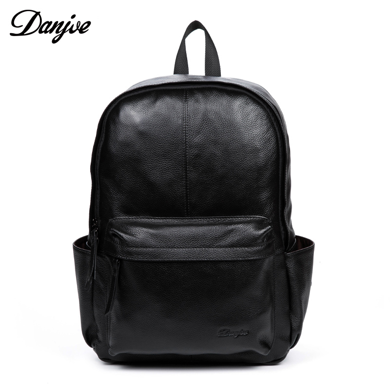 DANJUE Genuine Leather Men Backpack High Quality Black Business Laptop Bag New Fashion Casual Large Capacity Solid Travel Bags original fashion classic business backpack men genuine leather bag backpacks large capacity students business bags 15inch laptop