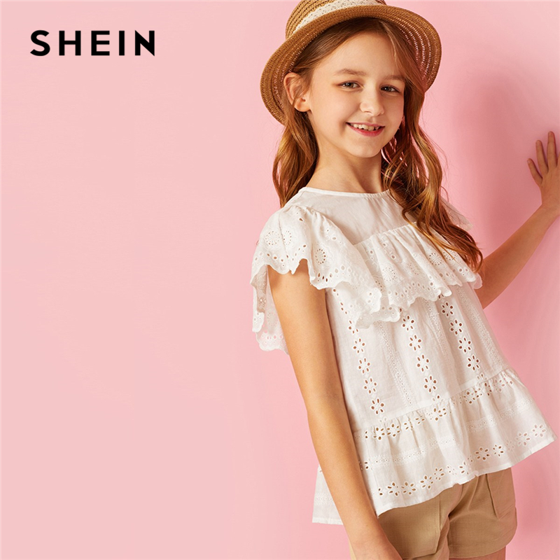 SHEIN Kiddie White Solid Keyhole Back Button Ruffle Hem Peplum Blouse Children 2019 Summer Vacation Sleeveless Boho Beach Tops