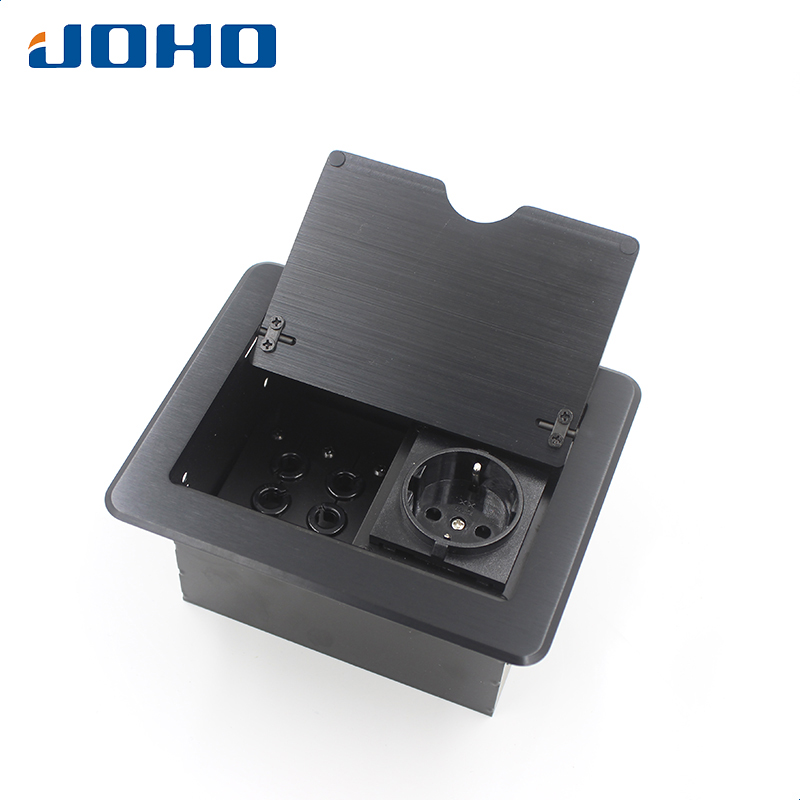 цена на JOHO Desktop Socket Aluminum Black Silver Panel EU Standard Pop Up Table Socket Electrical Outlet With Customized Port