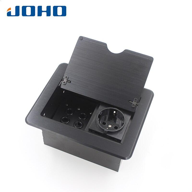 JOHO prise de bureau en aluminium noir argent panneau EU Standard Pop-Up prise de Table prise électrique avec Port personnalisé