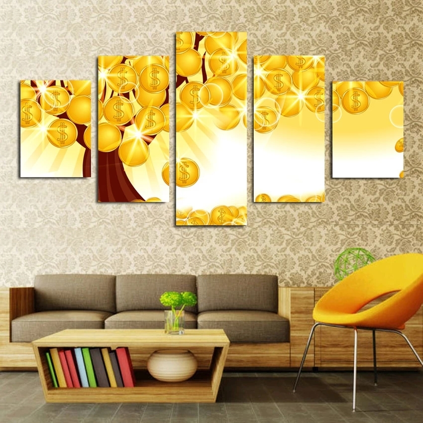 No Frame 5 Piece Home Decor Gold Tree Modern Wall Art HD Picture ...