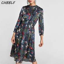 New Europe Flower Print Beautiful Dress Lady Long Sleeve Slim Women XSZ1410