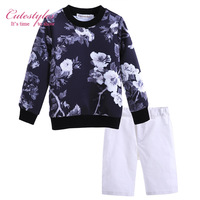 New Fashion Spring Autumn Boy Clothing Sets White Five Pants Trousers Long Sleeve Coats Children Clothes Suits CS90312-020L