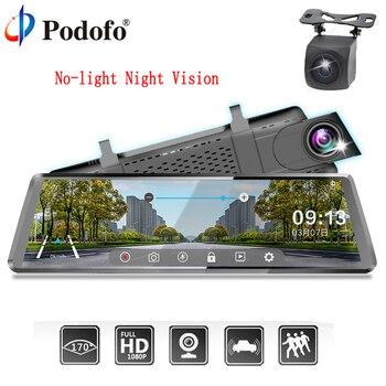 "Podofo Car DVR Stream RearView Mirror dual dash Camera auto registrator 10"" IPS Touch Screen Full HD 1080P Car Recorder dashcam"