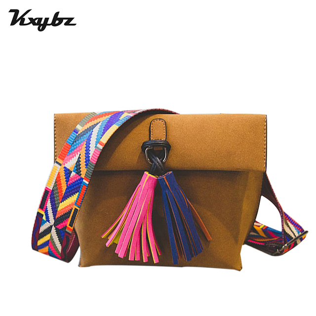 Kxybz 2017 Summer New Fashion Tassel Multi Color Wide Shoulder Strap Women Crossbody Bag Trend