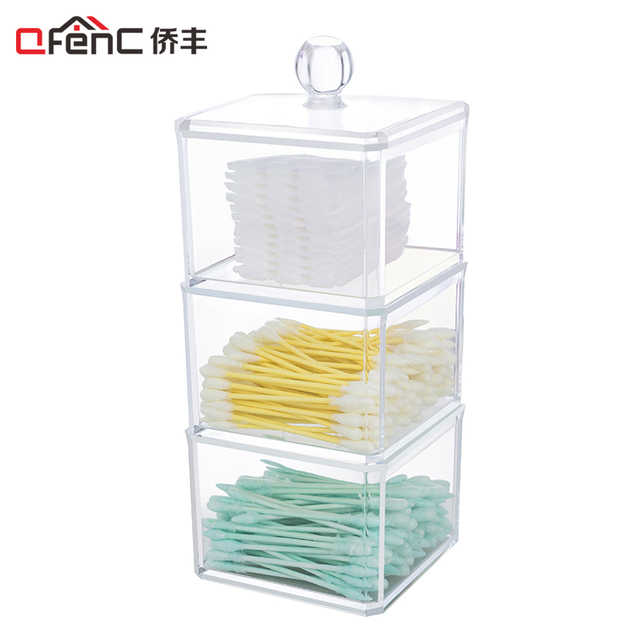QFENC Cute 3 Tiers Square Makeup/Jewelry Storage Box Stackable Cotton  Stick/Pad Make