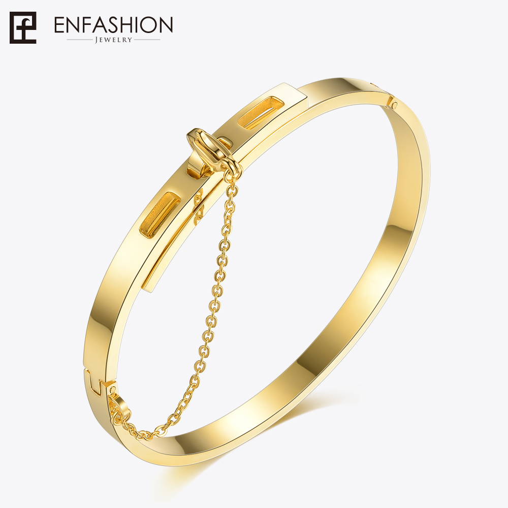 Enfashion Safety Chain Cuff Bracelet Noeud armband Gold Color Bangle Bracelet For Women Bracelets Manchette Bangles Pulseiras blk tree leaf sand hunting tactical rifle gun bag 1000d oxford fabric airsoft gun case shoulder bag heavy duty gun carrying bag